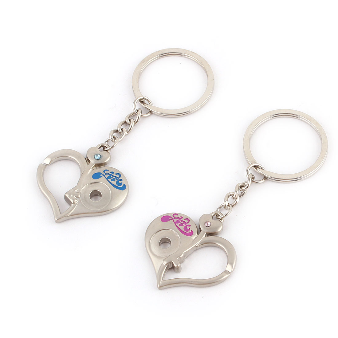 Travel Woman Ladies Metal Heart Decor Pendant Hook Clasp Keyring Keychain 2pcs