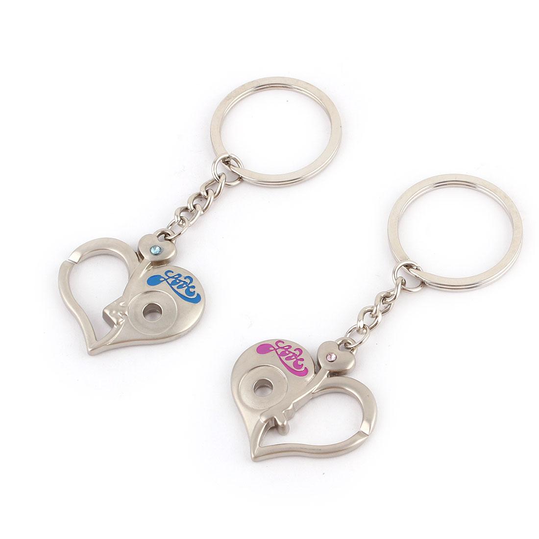 Travel Woman Ladies Metal Heart Decor Pendant Hook Clasp Keyring Keychain 2pcs