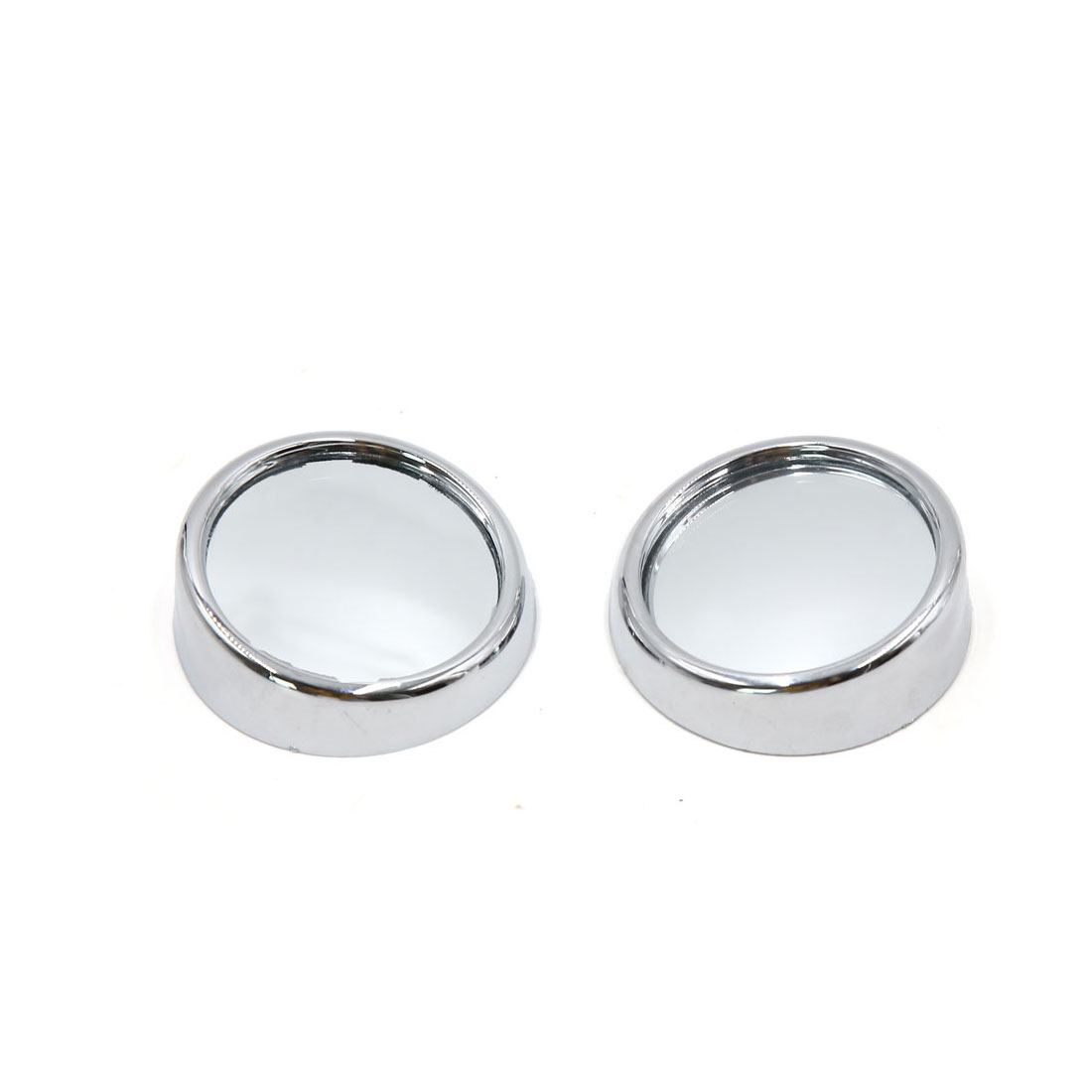 2pcs 47mm Chrome Silver Tone Car Stick-on Wide Angle Convex Blind Spot Mirror