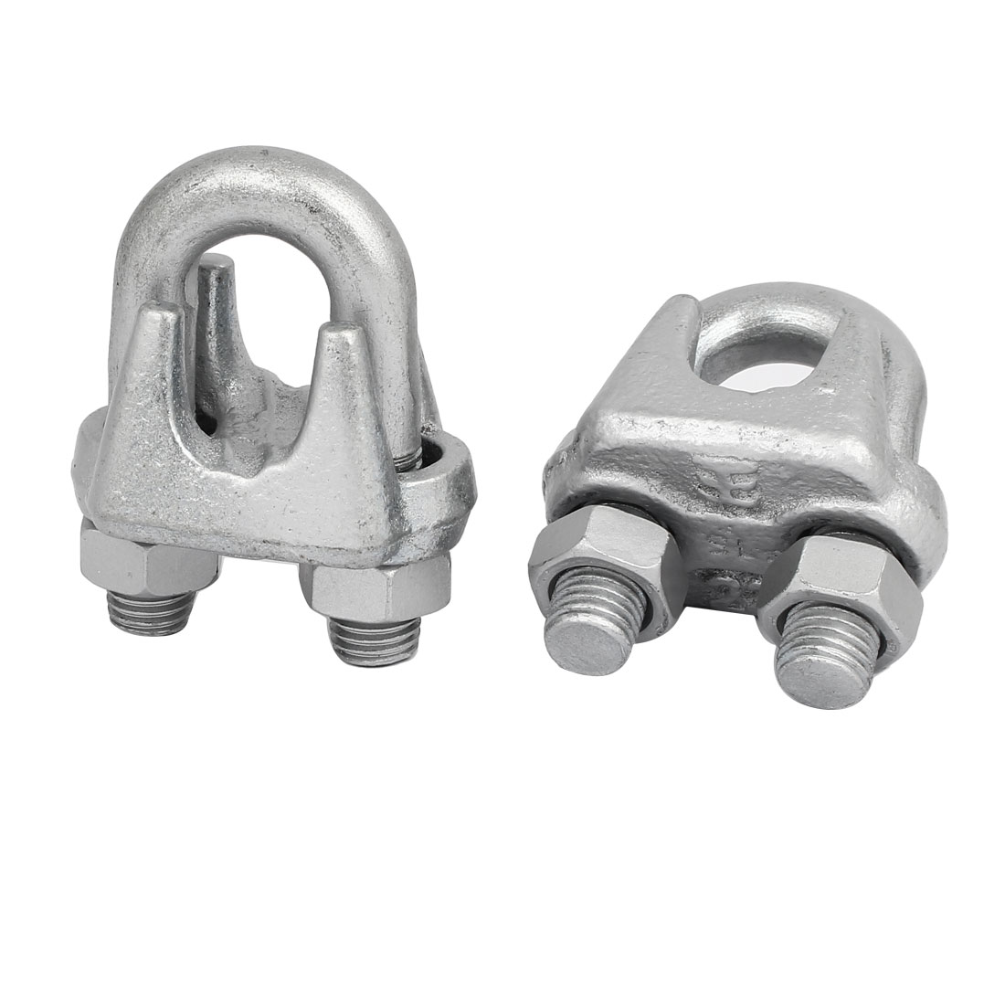22mm Metal Wire Cable Rope Clips Saddle Clamps Fasteners Silver Gray 2pcs