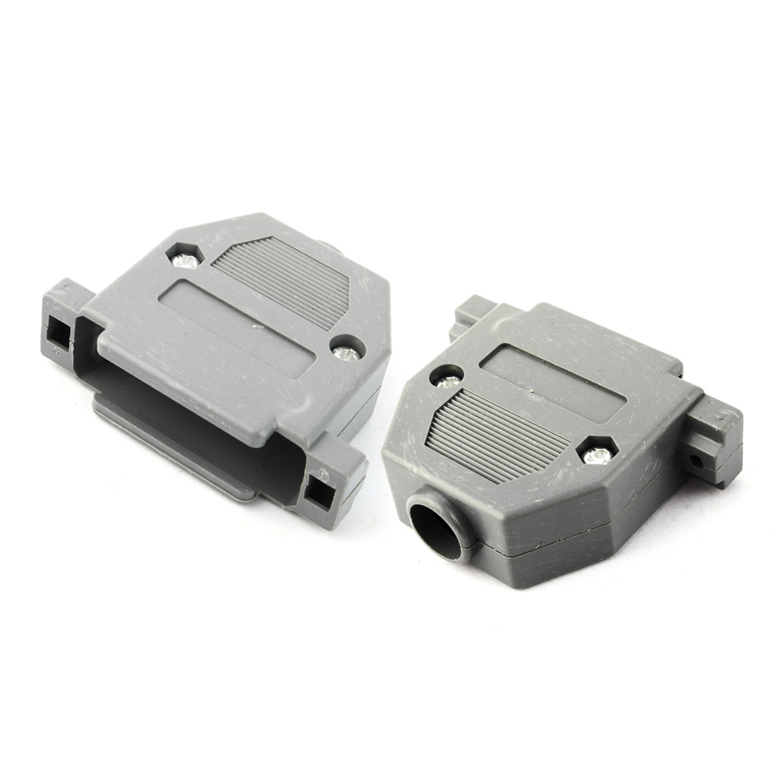 DIY Serial Port D-Sub DB9 Connector Kit Plastic Hoods Shell Gray 2pcs w Screws