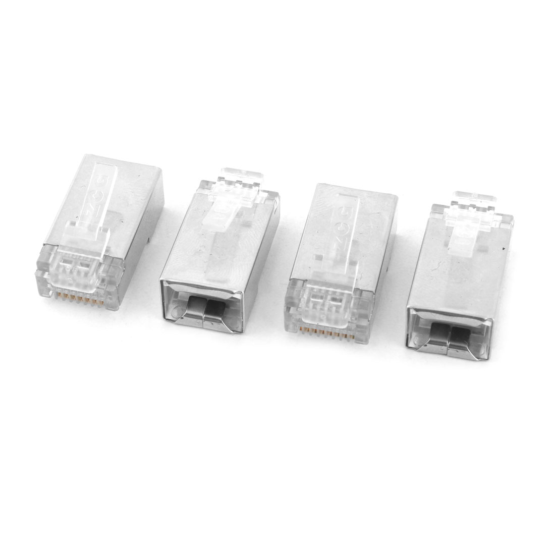 Ethernet Network Lan Cord Modular Connector Cable Head Silver Tone 4pcs