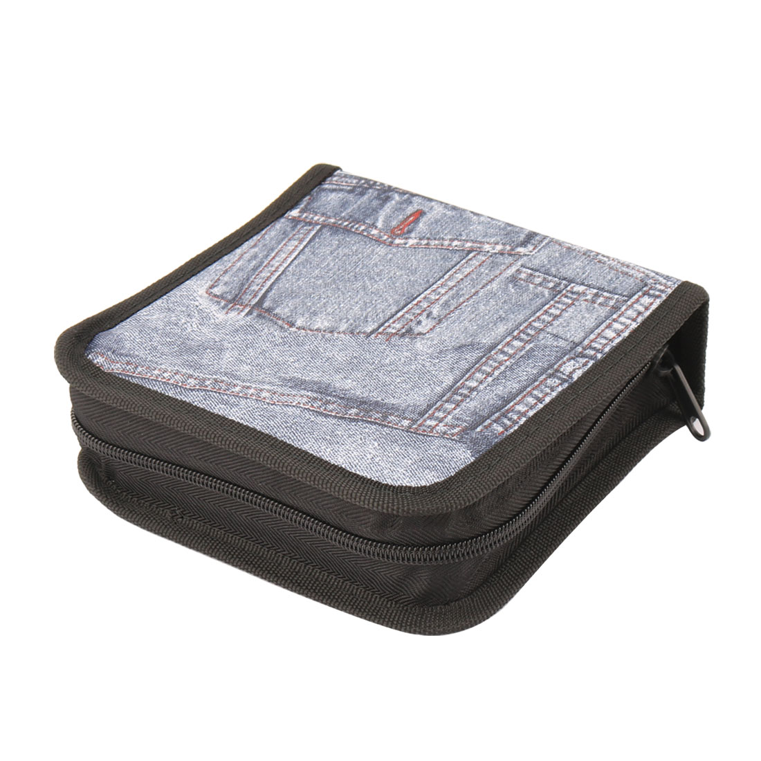 Office Home Nylon Jean Printed Double Side 40pcs Capacity DVD CD Disc Storage Bag Case Container Blue