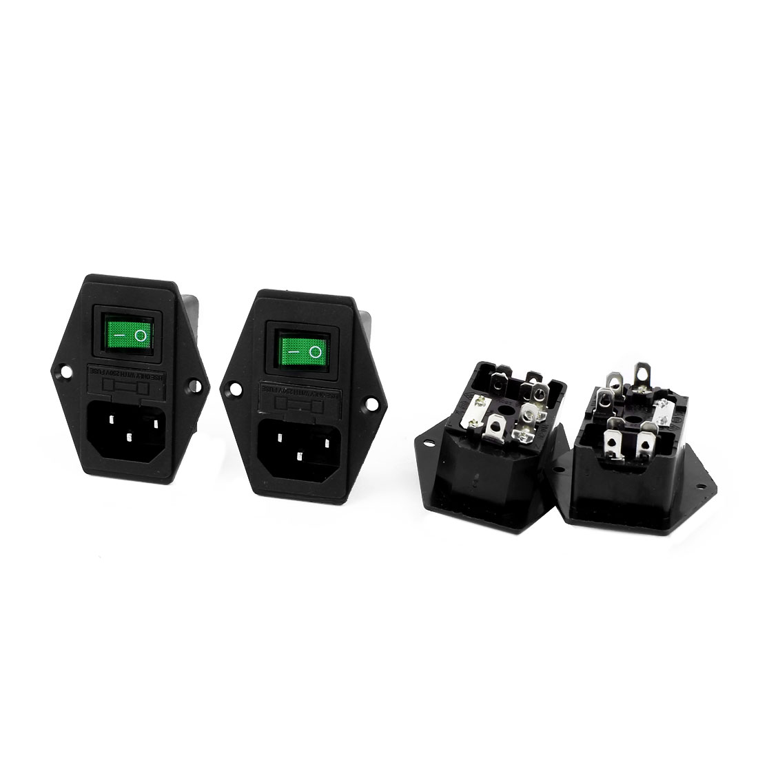 AC 250V 10A AC-01A Inlet Power Socket Green Light Solder Rocker Switch Fuse Holder 4Pcs
