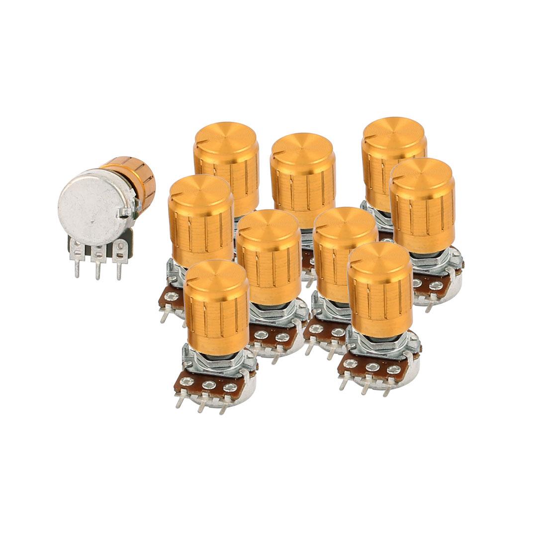 10Pcs B500K 500K Ohm Rotating Shaft 3 Terminals Linear Taper Rotary Potentiometer w Knob