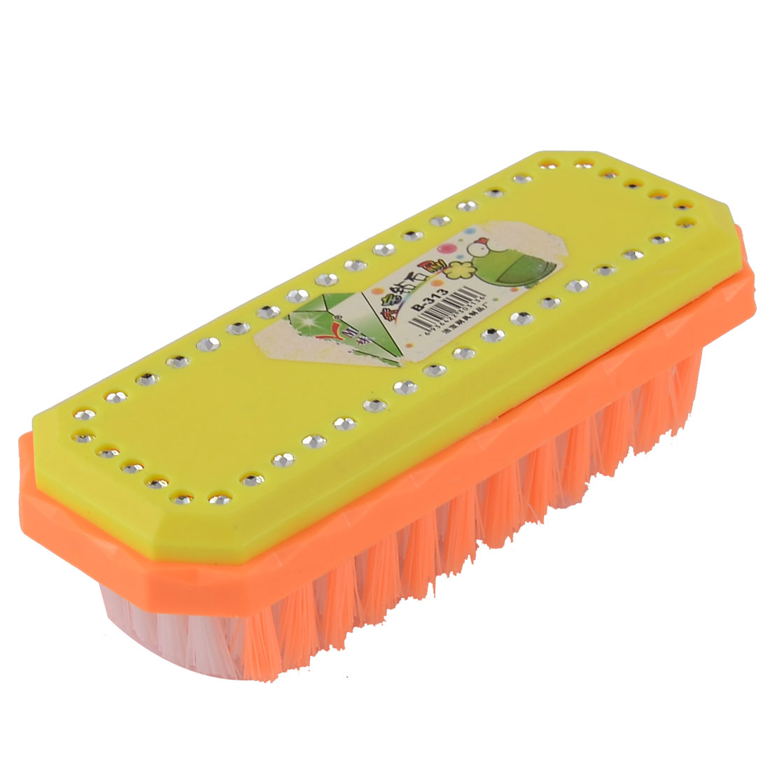 Household Plastic Clothes Shoes Cleaning Scrubbing Brush Orange Yellow