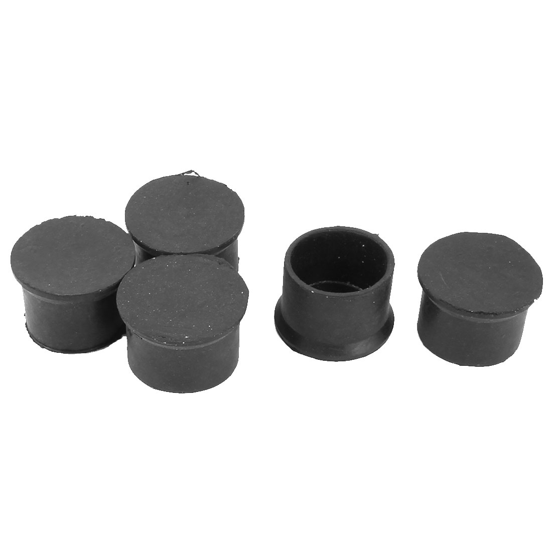 Rubber Round Furniture Chair Table Bottom Protector Feet Leg End Tip Black 50mm Inner Dia 5pcs