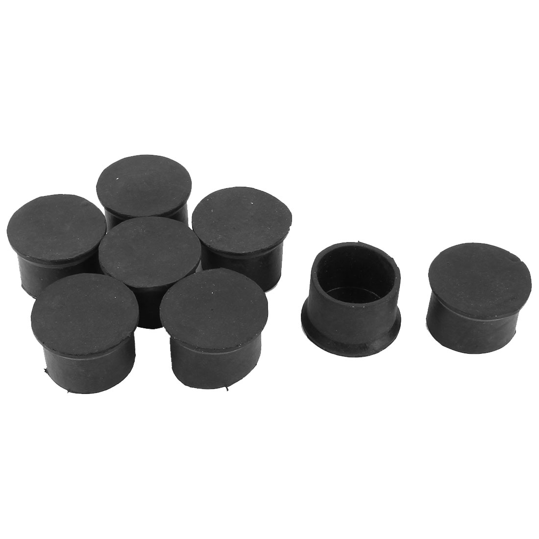 Rubber Round Furniture Chair Table Bottom Protector Feet Leg End Tip Black 50mm Inner Dia 8pcs