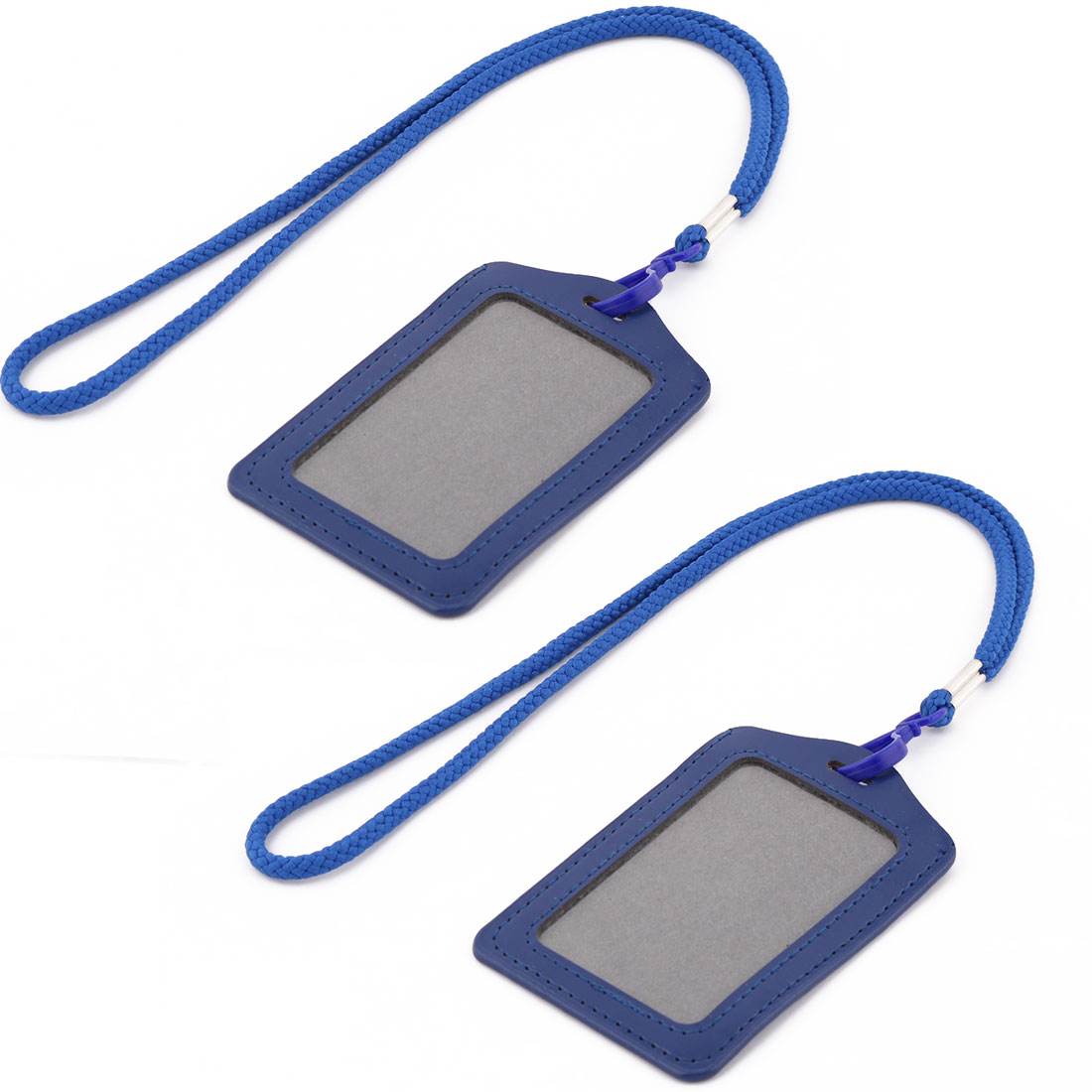 Faux Leather Vertical Style ID Name Card Tag Badge Holder Carrier Navy Blue 2pcs w Lanyard