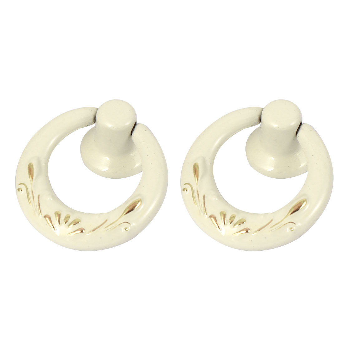 Wardrobe Cabinet Door Cupboard Drawer Pull Ring Handle Knobs Ivory White 2 Pcs