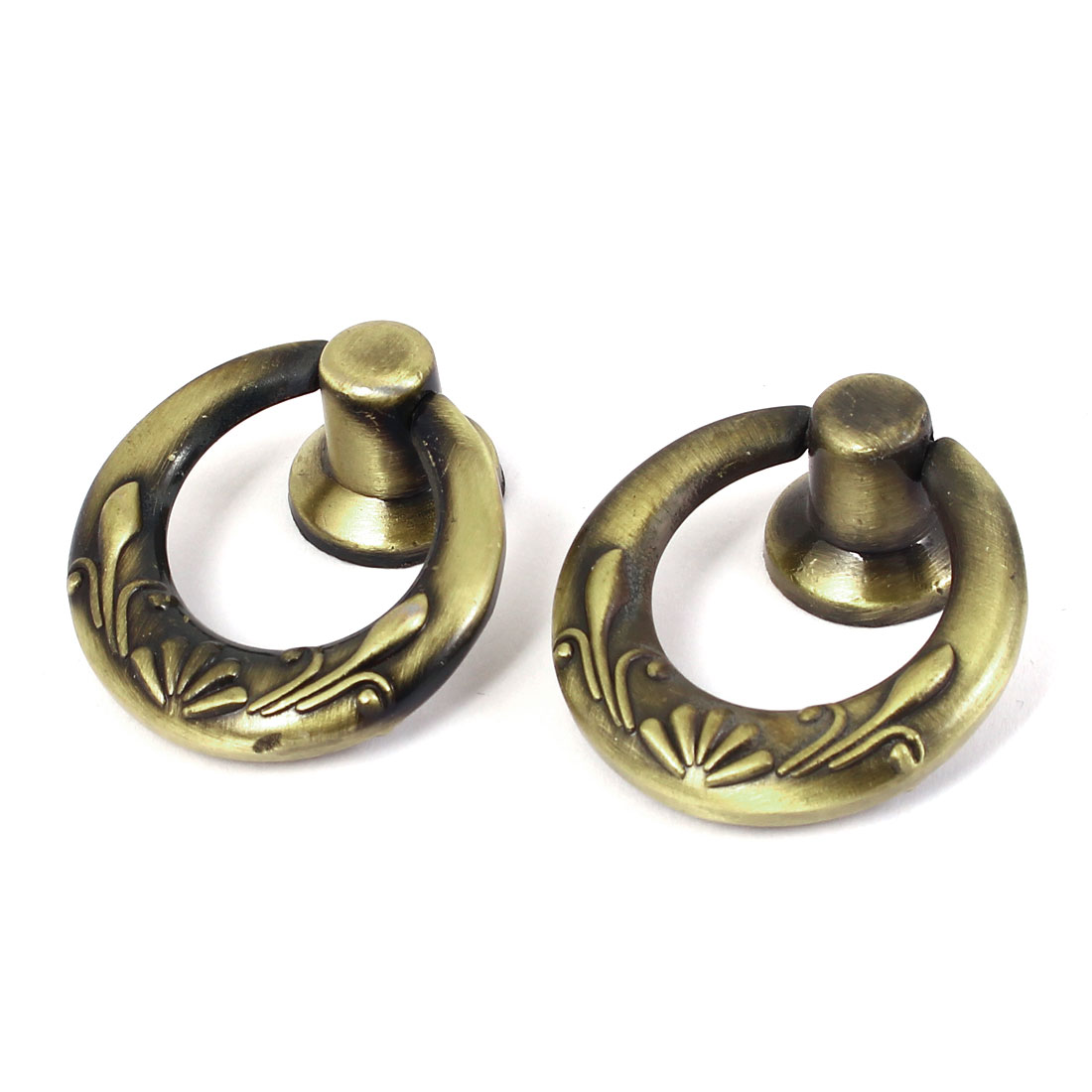 Kitchen Cabinet Drawer Antique Style Single Hole Round Pull Ring Handle Knobs 2 Pcs