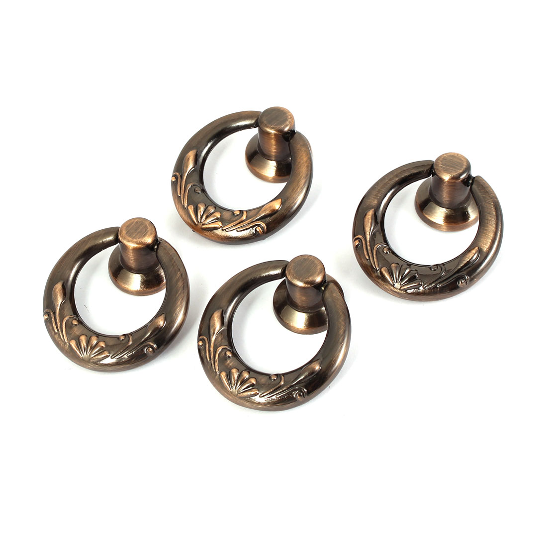 Dresser Drawer Cupboard Door Pull Ring Handle Knobs Copper Tone 40mm Dia 4 Pcs