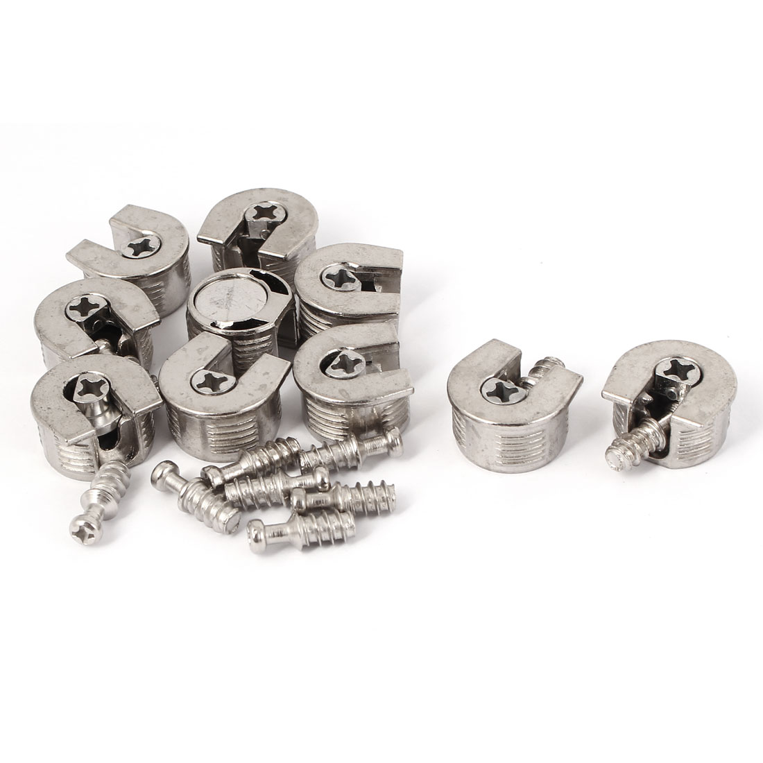 Furniture Fitting Screw in Type Metal Glass Shelf Support Pins Silver Tone 10 Pcs