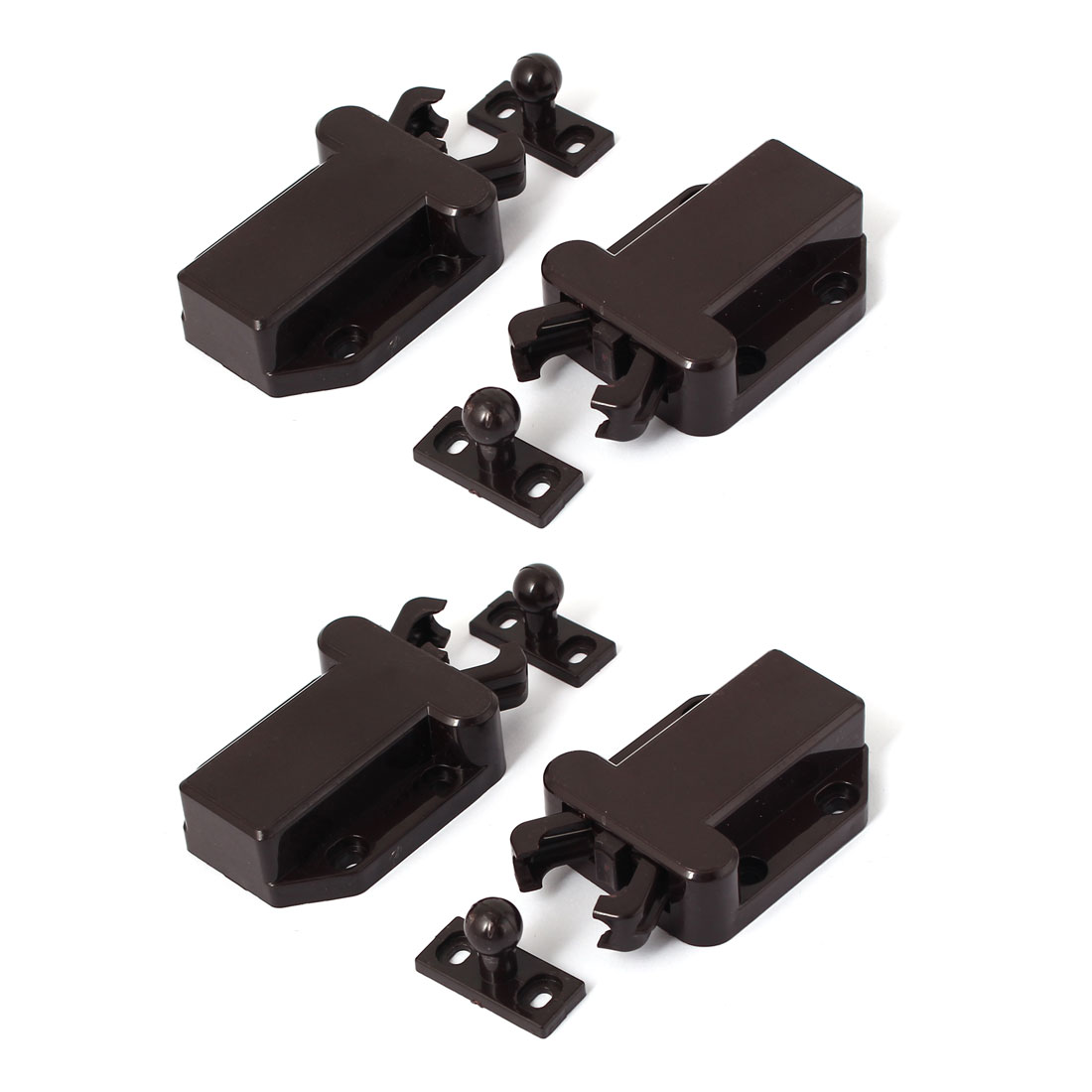 Door Drawer Cabinet Push Press Open Catch Touch Latch Brown 55mm x 42mm x 17mm 4pcs