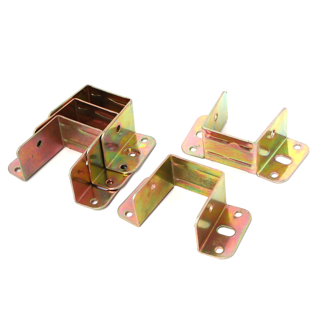 Furniture Hardware Fittings 8 Holes Metal Bed Angle Brackets Bronze Tone 5 Pcs