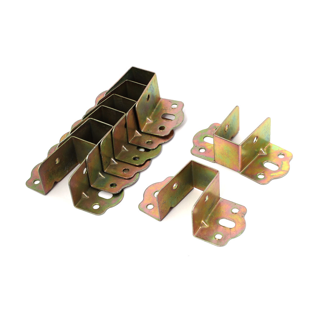 68mm x 40mm x 28mm 8 Holes Metal Bed Angle Brackets Hardware Bronze Tone 8 Pcs