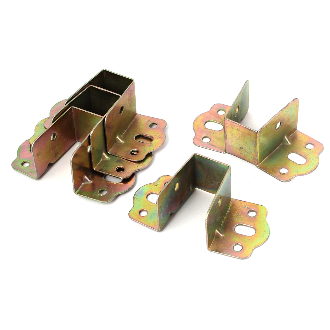 Furniture Fittings 8 Holes U Shaped Metal Bed Angle Brackets Supporters 5 Pcs