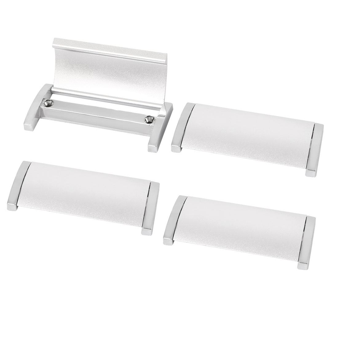 Cabinet Door Drawer Rectangle Shape Pull Handle Knob Silver Tone 102mm Long 4PCS