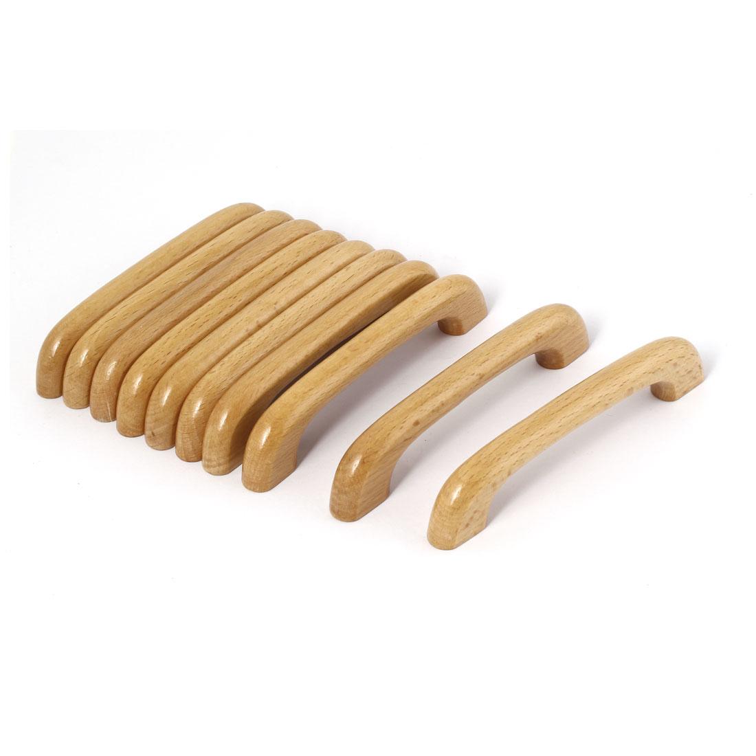 Cupboard Door Drawer Hardware Wood Pull Handles Beige 3.5mm Thread Hole 10 Pcs