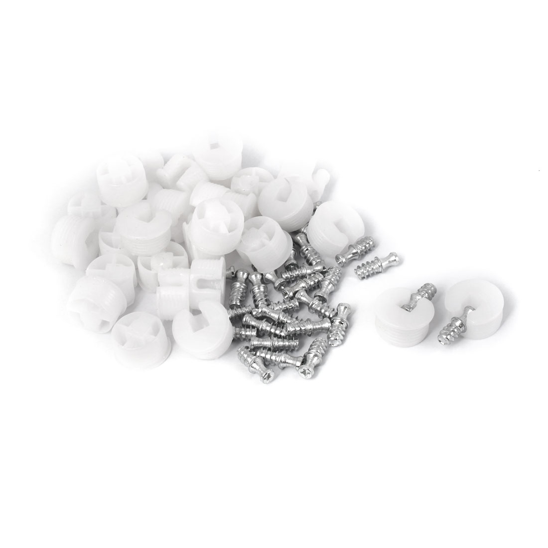 U Shape Plastic Screw in Shelf Support Pins Peg Supporter White 30 Pcs