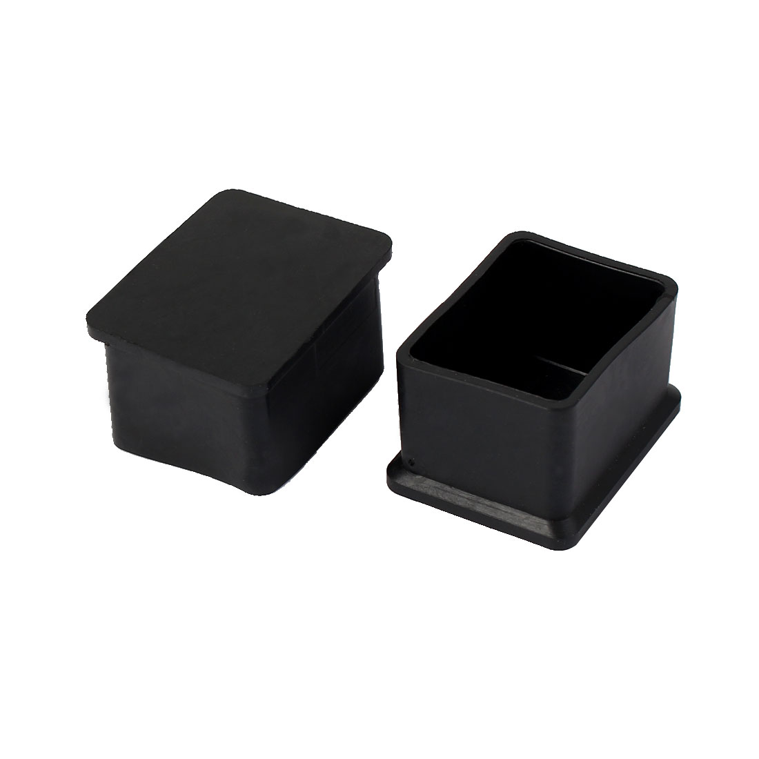 40mm x 30mm Square Shaped Furniture Table Chair Leg Foot Covers Cap Black 2 Pcs