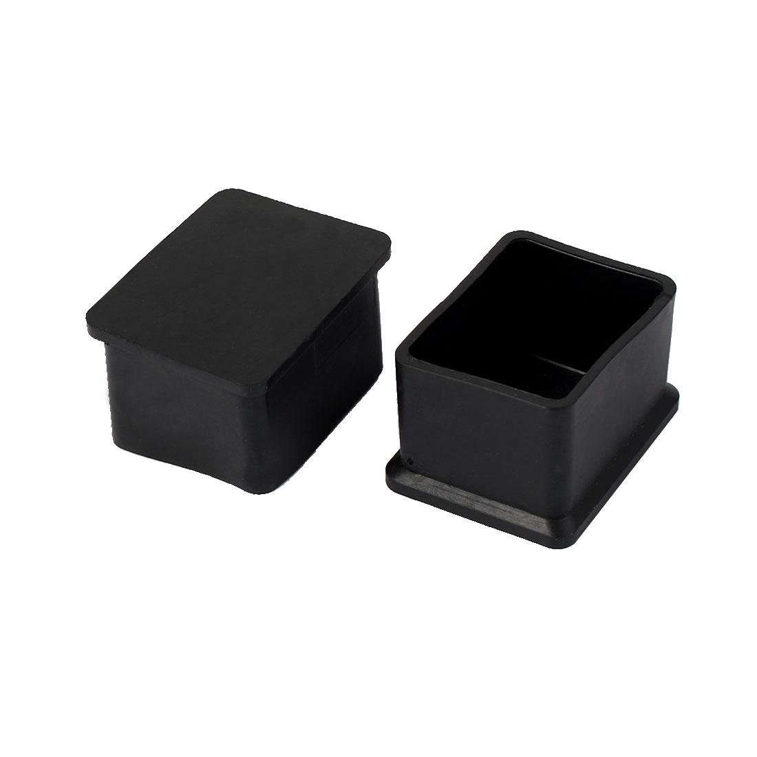 40mm x 30mm Square Shaped Furniture Table Chair Leg Foot Covers Cap Black 2 Pcs