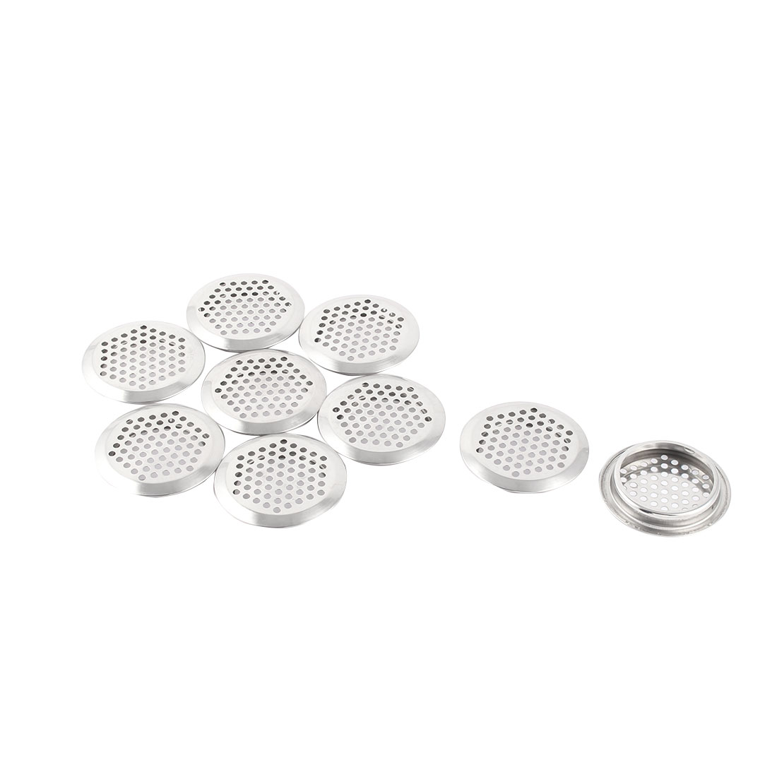 Home Stainless Steel Round Mesh Hole Air Vent Louver Silver Tone 65mm Dia 9 Pcs