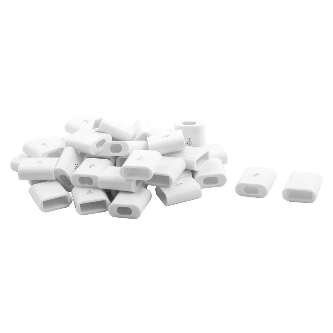 Plastic USB Connector Port Shell Cover Accessories White 17 x 15 x 7mm 40 Pcs
