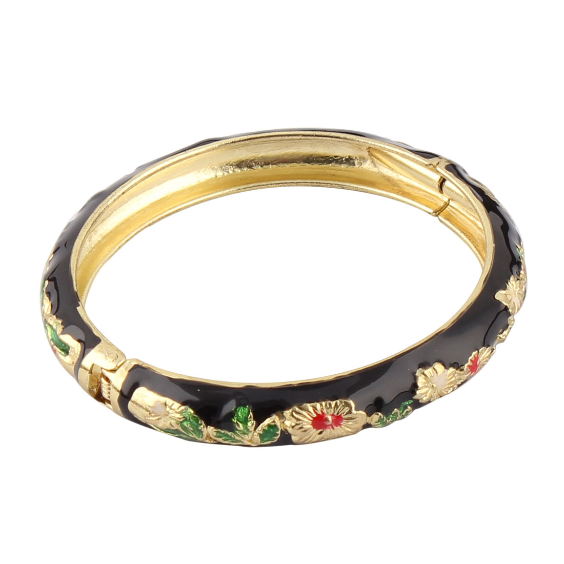 Woman Hinged Round Cuff Flower Pattern Enamel Bracelet Bangle Black Gold Tone