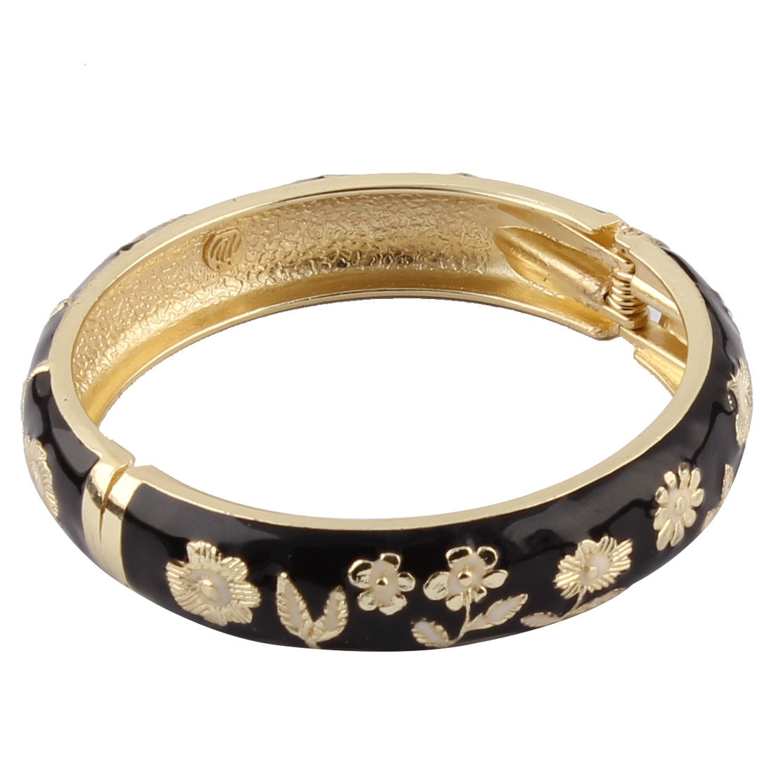 Woman Hinged Round Cuff Floral Pattern Enamel Bracelet Bangle Black Gold Tone