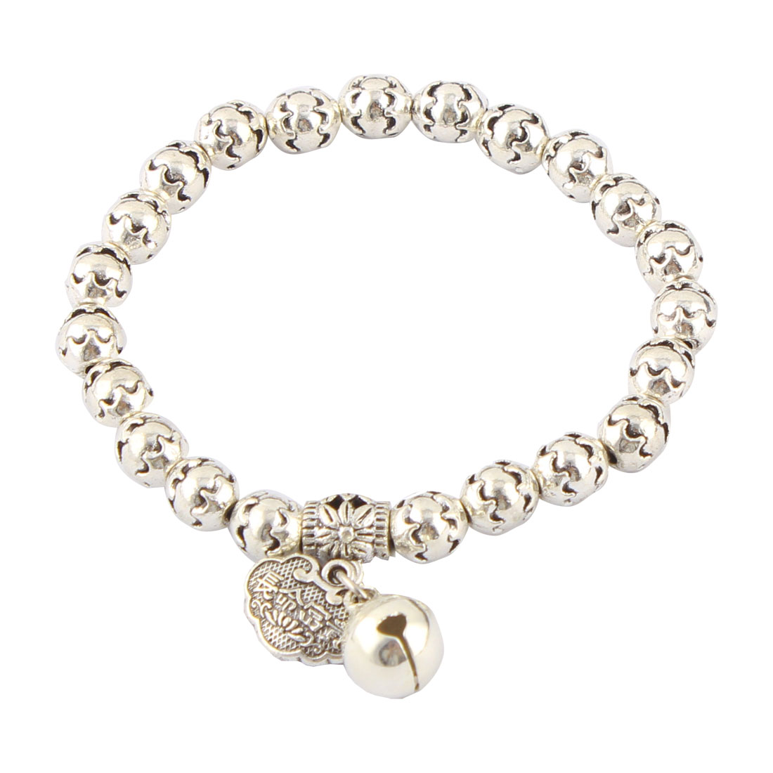 Women Lady Metal Round Bell Pendant Party Elastic Bead Chain Bracelet Silver Tone