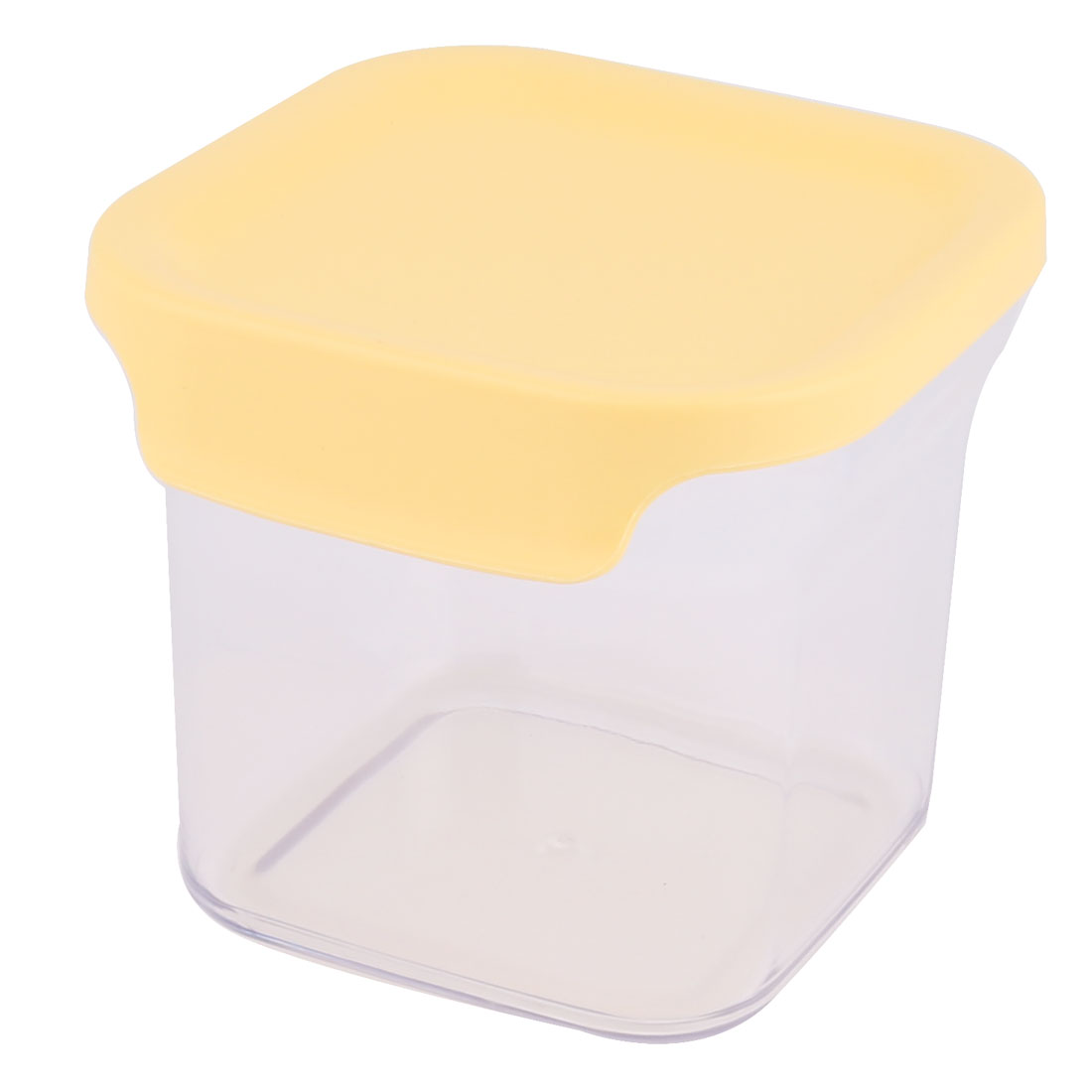 Kitchenware Square Plastic Airtight Food Cereals Bean Wheat Storage Box Organizer Yellow 650ML