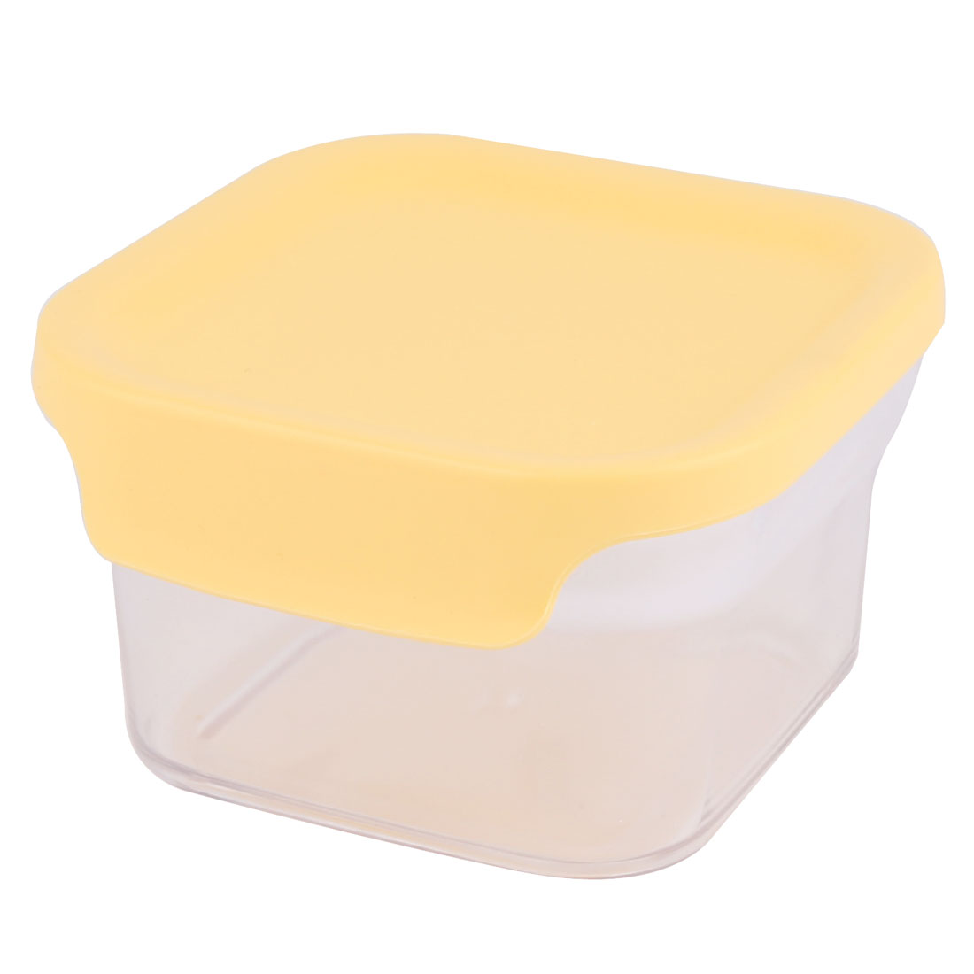 Household Square Plastic Airtight Suger Salt Pepper Storage Box Holder Yellow 400ML