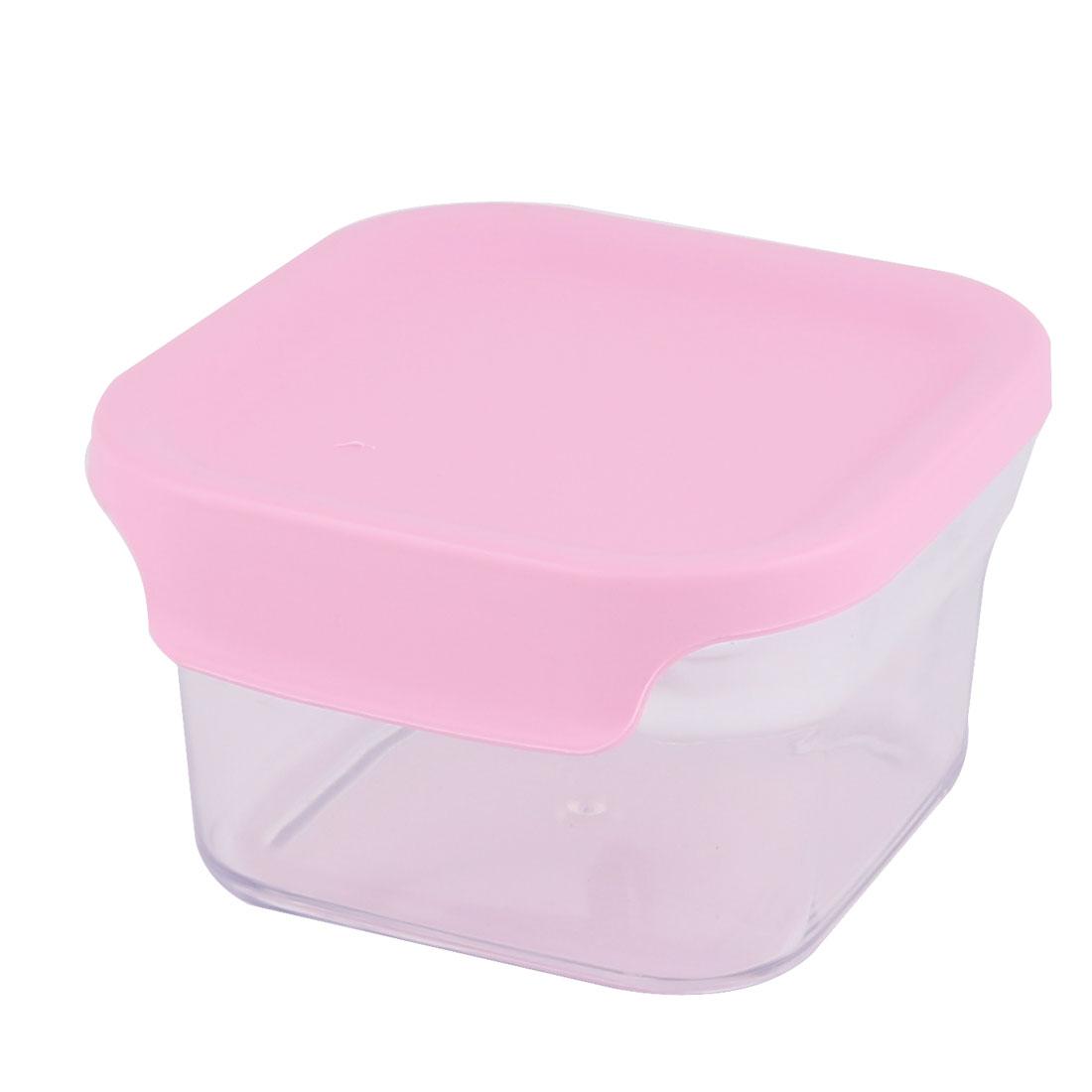 Hiking Travel Plastic Airtight Food Cheese Snacks Storage Box Holder Pink 400ML