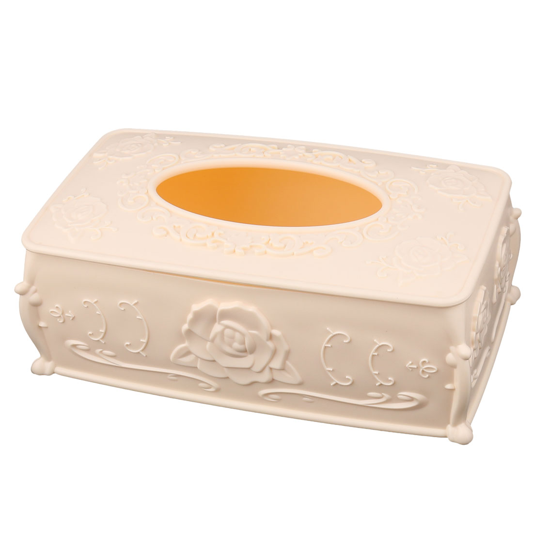 Parlour Bar Flower Carven Plastic Paper Tissue Box Case Holder Organizer Beige