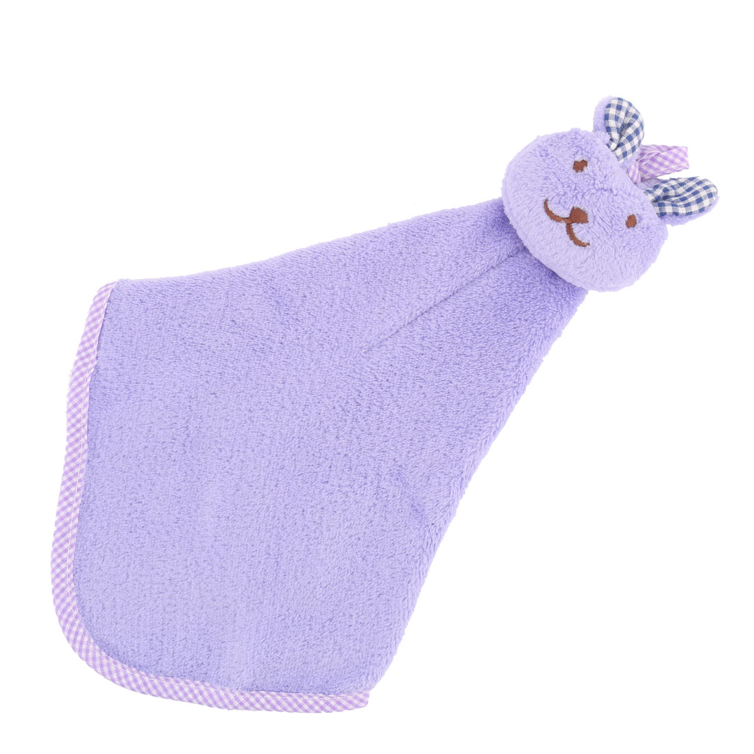 Apartment Rabbit Design Terry Wall Hanging Cleaning Hand Dry Towel Washcloth Light Purple