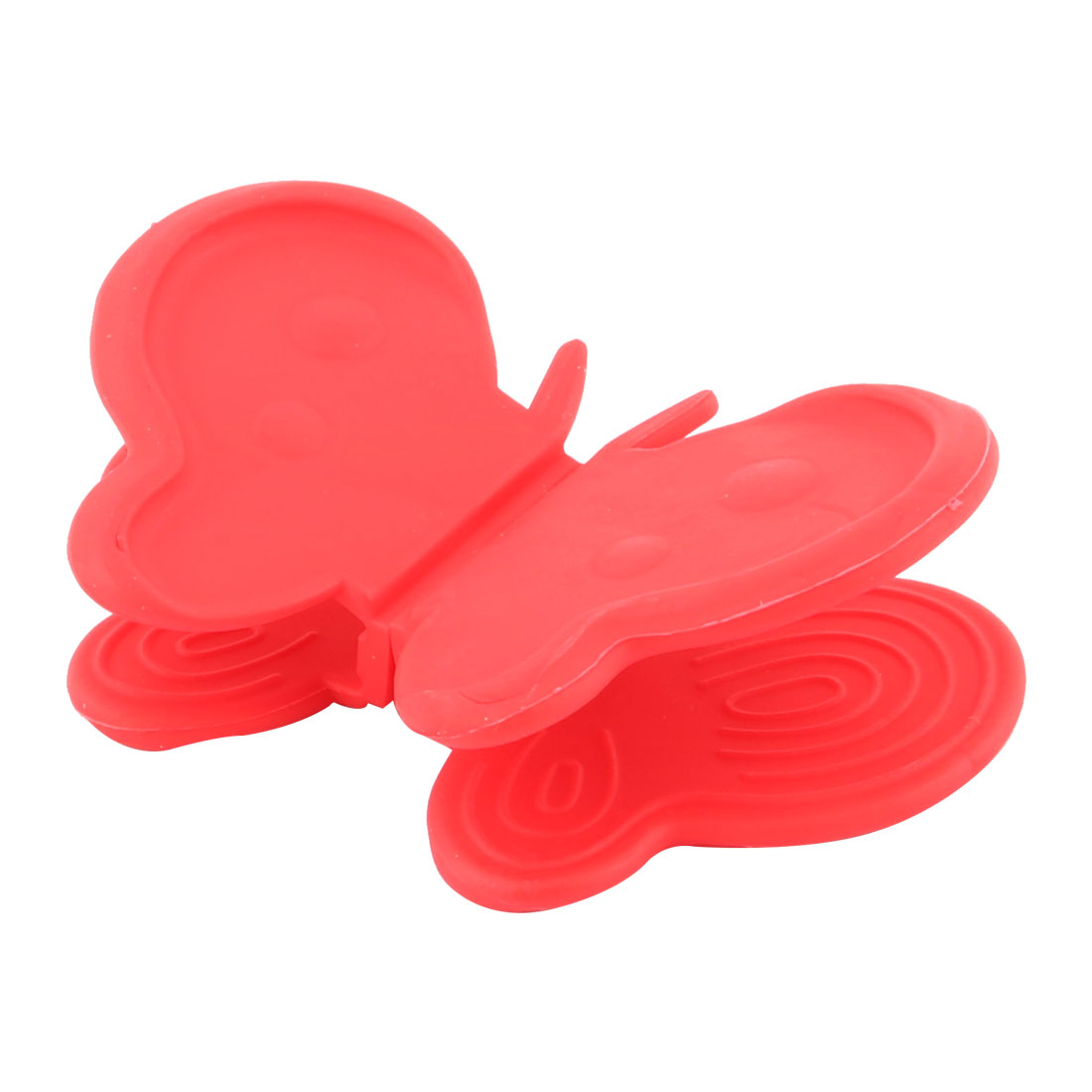 Butterfly Design Rubber Cooking Hot Bowl Plate Dish Carrier Holder Claw Clip Clamp 2pcs Red