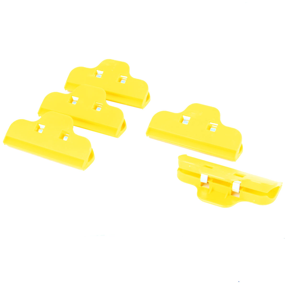 Apartment School Plastic Food Snacks Bags Storage Binder Holder Organizer Clip Clamp Yellow 5pcs