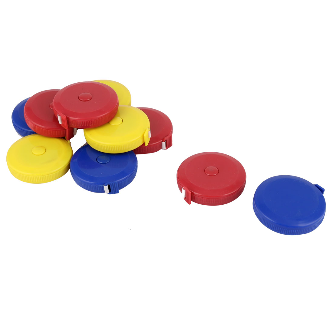 150cm 60 Inch Double Sided Plastic Shell Press Button Retractable Tape Measure Blue 10pcs