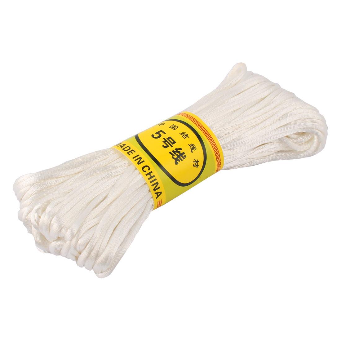 White Nylon Cord Thread DIY Chinese Knot Macrame Rattail Bracelet Braided String 20M