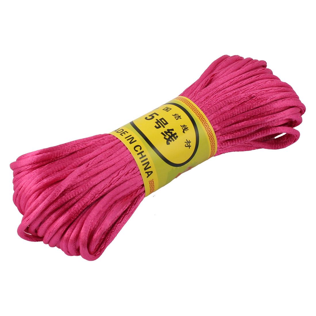 Fuchsia Nylon Cord Thread DIY Chinese Knot Macrame Rattail Bracelet Braided String 20M