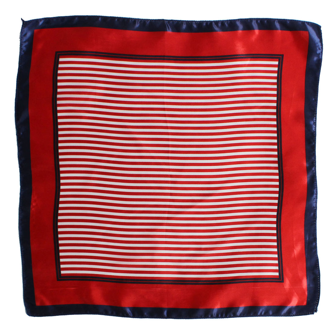 Women Ladies Striped Pattern Square Headband Kerchief Scarf Wrap Red 50cm x 50cm
