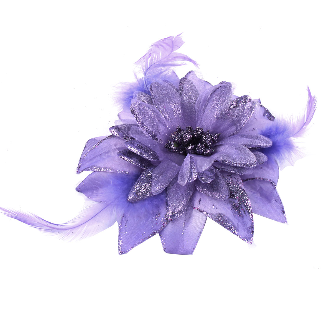 Fabric Flower Powder Detail Party Elastic Hair Rope Band Brooch Light Purple