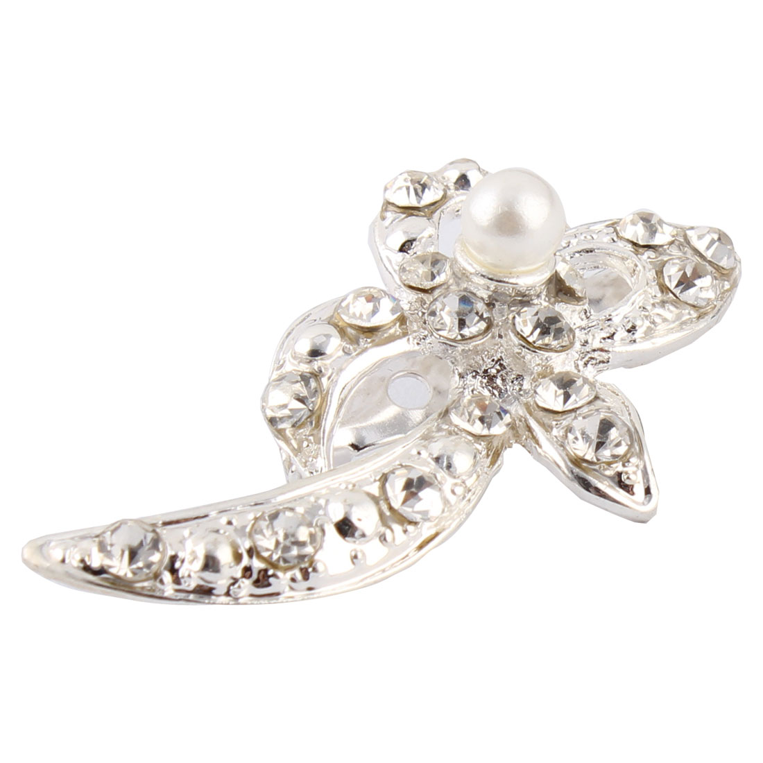 Faux Rhinestone Accent Bowknot Shaped Women Bridal Party Brooch Silver Tone