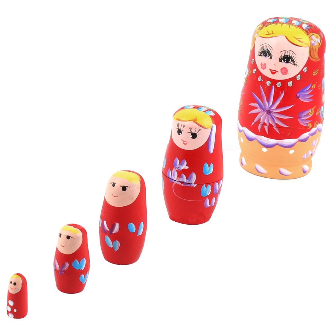Wooden Hand Painted Russian Nesting Dolls Matryoshka Gift Red Set 5 in 1