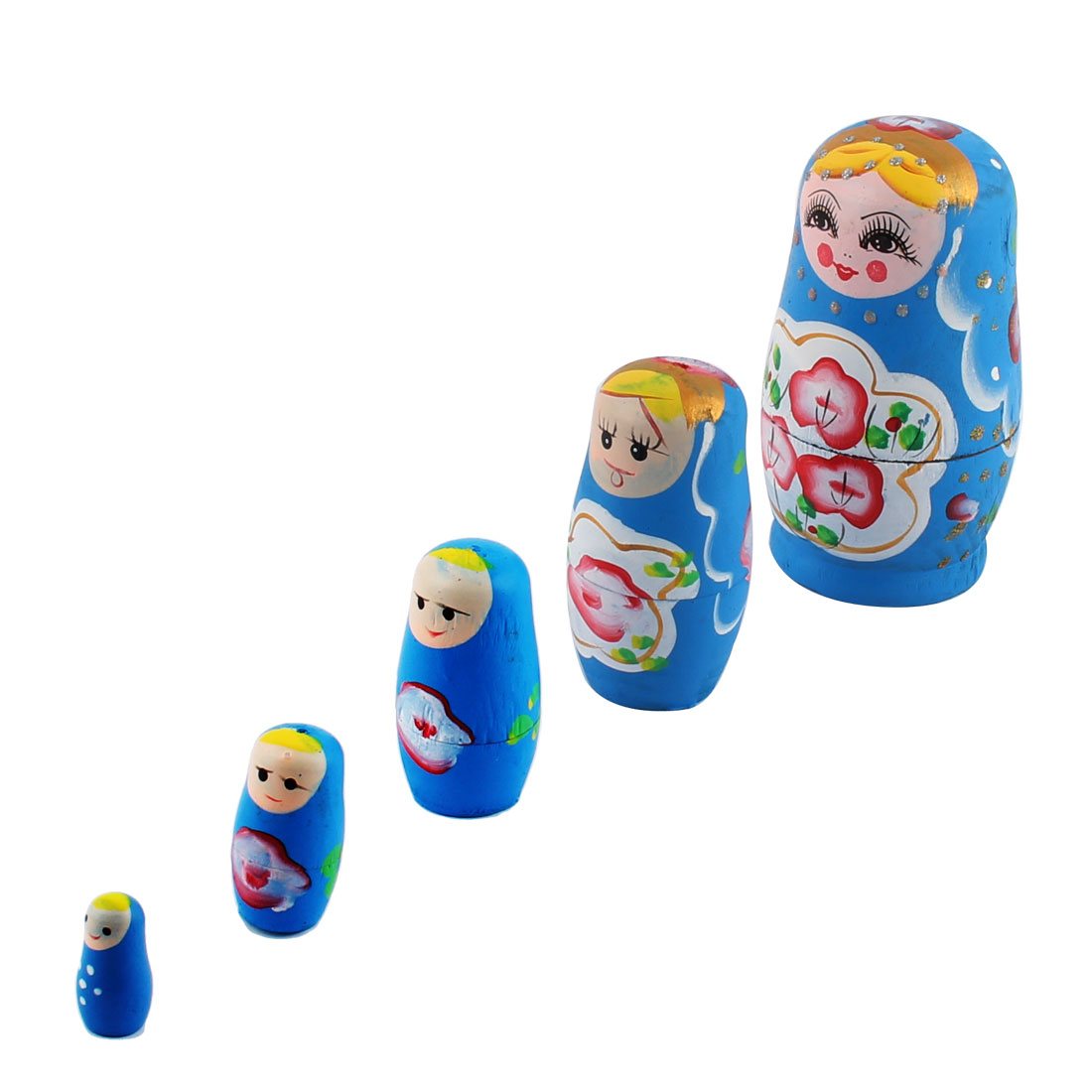 Wooden Hand Painted Russian Nesting Dolls Matryoshka Gift Blue Set 5 in 1
