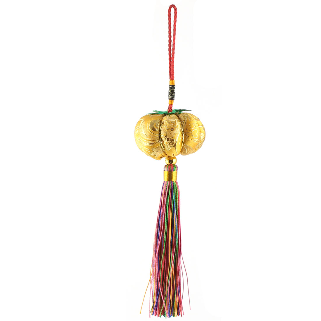 Cotton Rope Pumpkin Shape Handmade Woven Hanging Tassel Chinese Knot Yellow