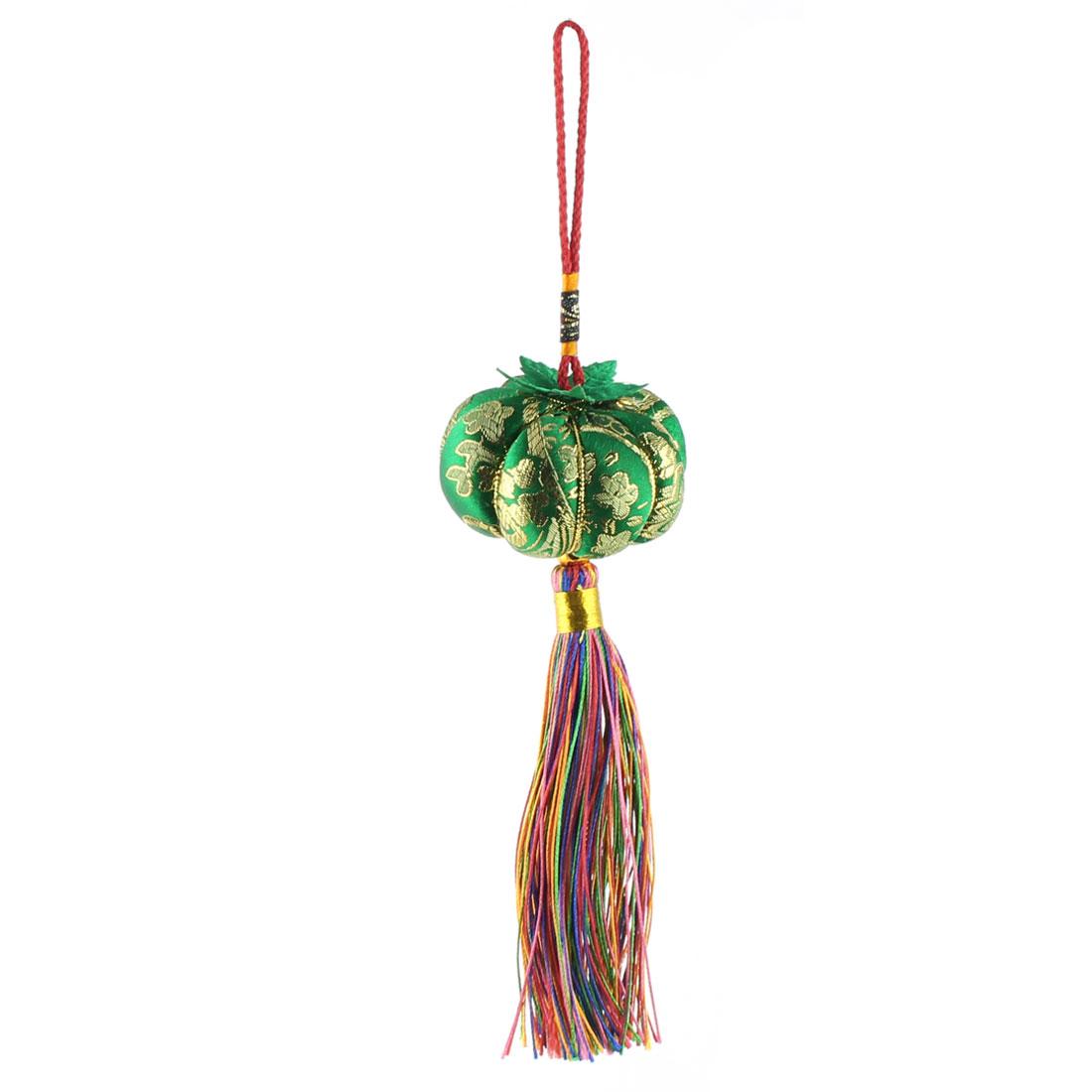 Cotton Rope Pumpkin Shape Handmade Woven Hanging Tassel Chinese Knot Green