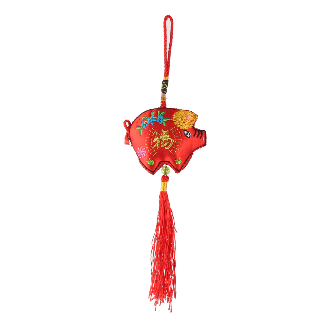 Cotton Rope Pig Shape Handmade Woven Hanging Tassel Chinese Knot Red