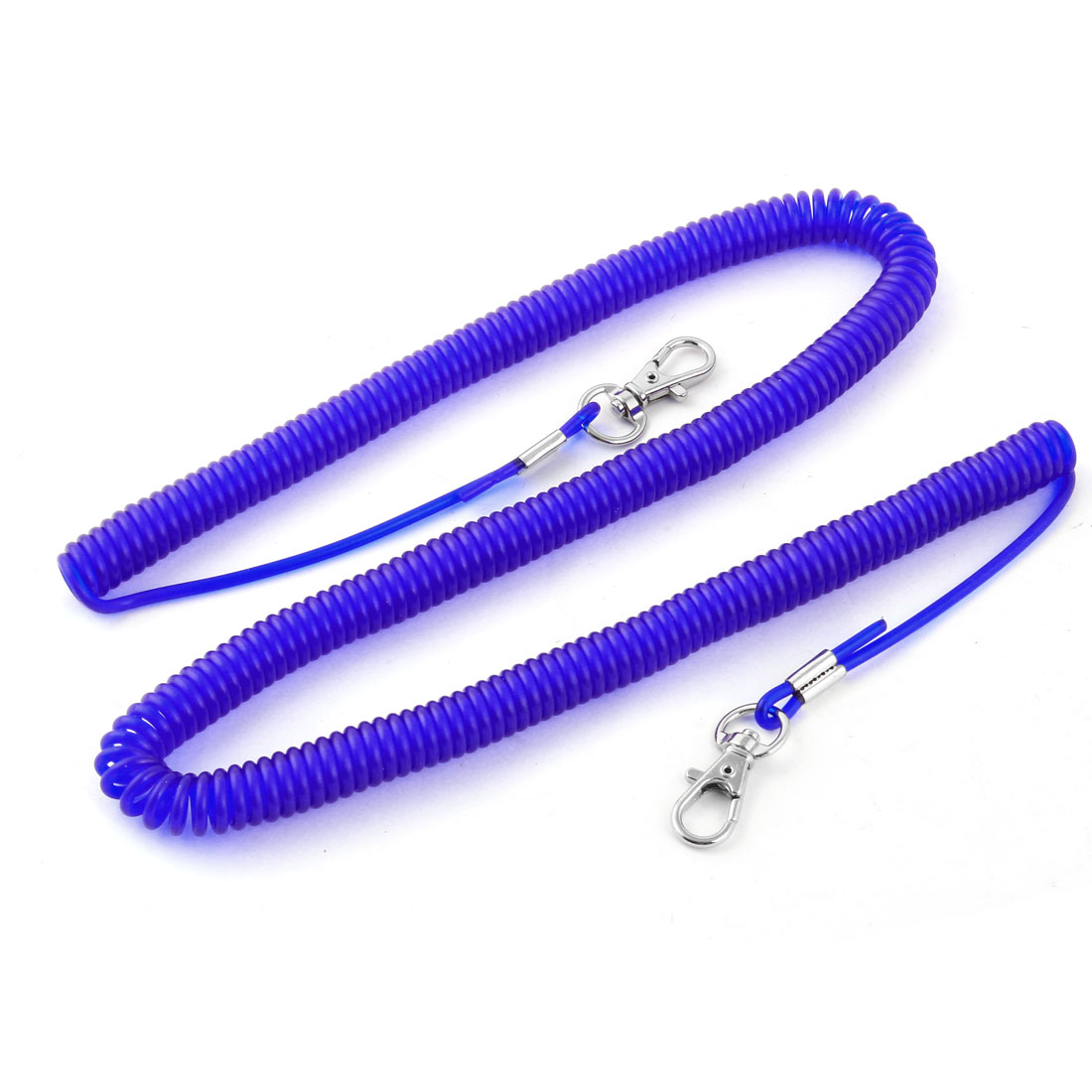 Outdoor Travel Dual Lobster Clasp Elastic Fishing Lanyard Line Cable Rope Blue